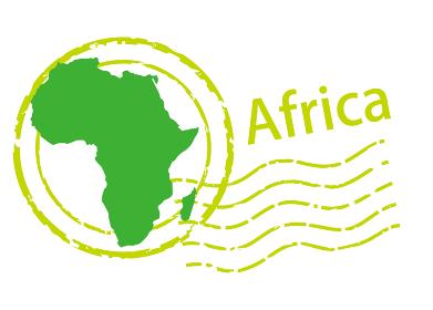 輸入輸出ビジネスイメージの消印・ポストマークのアイコン、イラストとアフリカ大陸の地図