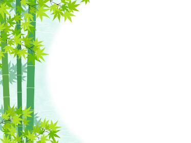 和風 青もみじと竹の背景・フレーム素材(横向き)