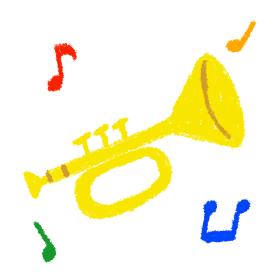 トランペット ラッパ 楽器 クレパス イラスト 素材 手描き