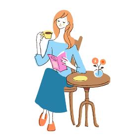 お茶を飲んでくつろぐ女性
