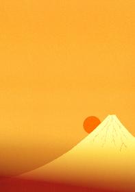 金色に輝く富士山と日の出のイラスト 2 縦位置
