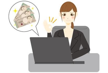 パソコン 女性 会社員 日本紙幣 プラス