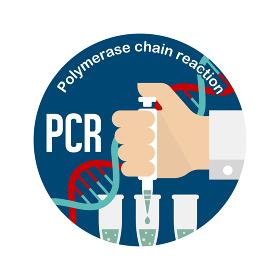 PCR検査 円形バナーイラスト / 新型コロナウイルス , Covid-19