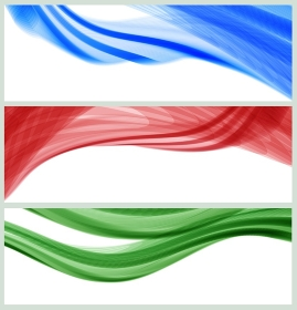 set of banners with waves, vector.  vector set of 3d effect waves, EPS10 with transparency