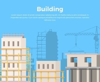 Building Landscape. City Construction view.. View urban construction concept. Construction building web banner. Skyscrapers real estate growing illustration in flat style design. City infrastructure development.