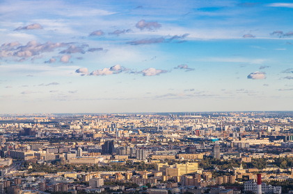 above view of east of Moscow in autumn twilight
