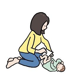 赤ちゃんのおむつ替えをするお母さんのイラスト