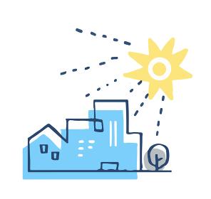 建物と太陽