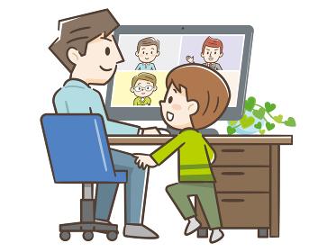 リモートワーク オンライン ビデオ会議 子供