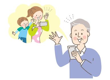 スマホでビデオ通話するシニア男性と娘と孫