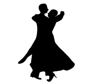 踊る社交ダンスのシルエット