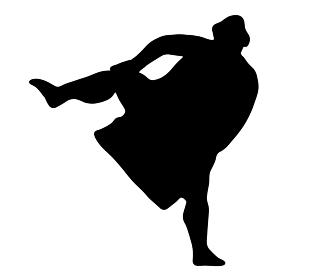 四股を踏む相撲のシルエット