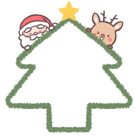 笑顔のサンタクロースとトナカイとクリスマスツリーのフレーム