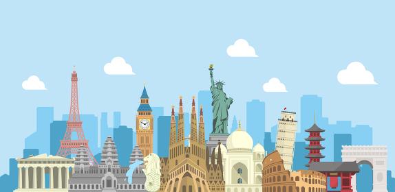 海外旅行・バカンス イメージバナー (文字なし) / 世界の有名な建築物(遺跡・建物・世界遺産)