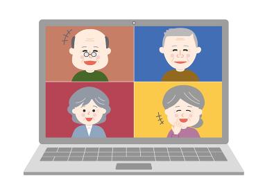 オンライン通話・笑顔の友達イラスト(老人)