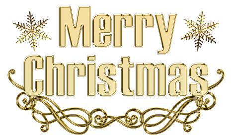 金色メタリックのレリーフ立体的ゴシック体のメリークリスマスのロゴ、アールヌーボー調のオーナメント