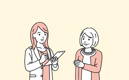 年配の女性と医者 カウンセリング 相談 診察 シニア 高齢者 患者 イラスト素材