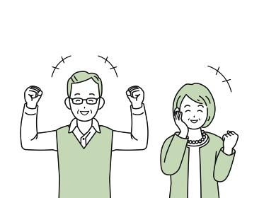 老夫婦 健康 元気 笑顔 シニア 年配 高齢者 お年寄り 男女 上半身 イラスト素材
