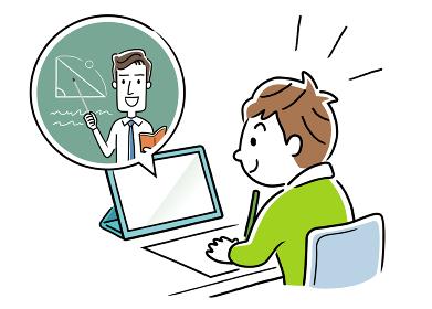 イラスト素材:自宅でオンライン授業を受ける男の子
