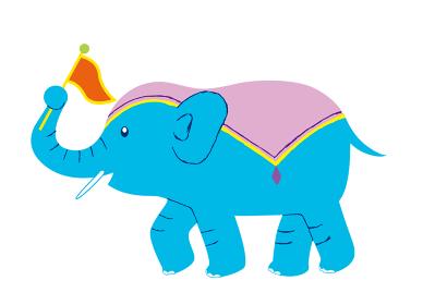旗を振る横向きのサーカスの象
