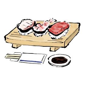 手描きの握り寿司3貫の和風の筆描きイラスト素材