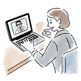 オンライン診療 パソコン 女性 若い 水彩 手書き
