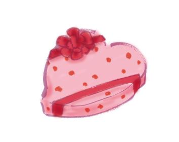 手描きイラスト素材 イラスト素材、バレンタインデー、プレゼント、ピンク、ピンク色、ハート型、バレンタ