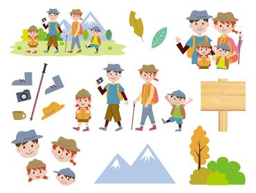 家族でハイキングイラストセット