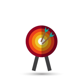 Target with arrow, standing on a tripod. Goal achieve concept. Vector illustration isolated on white background