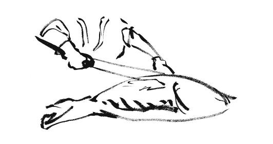 和風手描きイラスト素材 料理シーン マグロの解体 マグロの解体ショー 魚を捌く