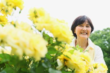 黄色の花と日本人のシニア女性