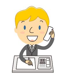 電話対応をしている男性 イラスト