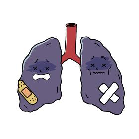 怪我をした肺のキャラクター