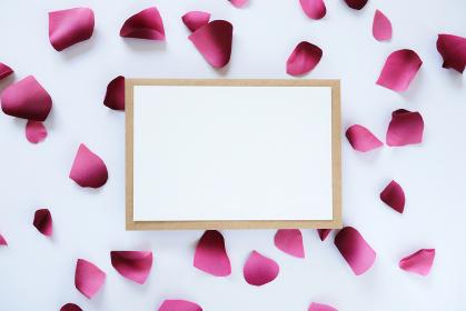 ピンクの花びらに囲まれたカード 1