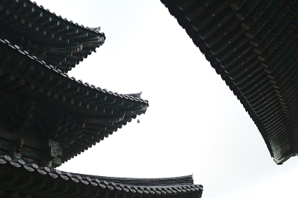 Detail of Roofs of a Buddhist Temple Haeun-jeungsa in Busan, South Korea , South Korea, Busan, Busan