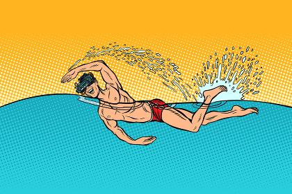 virtual reality glasses man swimmer swims