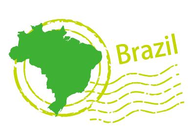 輸入輸出ビジネスイメージの消印・ポストマークのアイコン、イラストとブラジルの地図