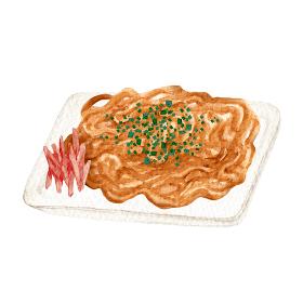 焼きそば 縁日 祭 屋台 出店 食べ物 水彩 イラスト