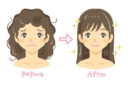 天然パーマの女性の髪の悩み(縮毛矯正をする女性)