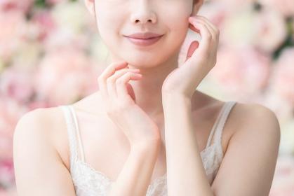 美容イメージ(花背景)