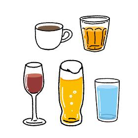 飲み物 ビール ワイン 水、ジュース、コー.
