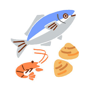 魚とエビと貝
