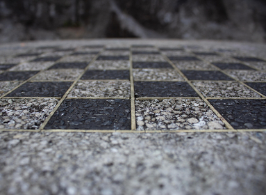 The detail of a chess table of a outdoor park