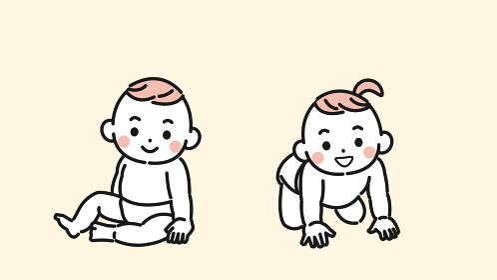 赤ちゃん 男の子と女の子 お座り ハイハイ 双子 イラスト素材