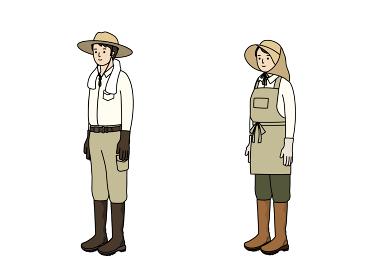 農作業の服装。農業、ガーデニング、家庭菜園。