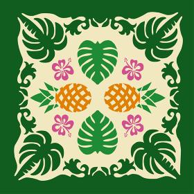 ハワイアンキルトのパターン ヤシの木パイナップル モンステラ背景イラスト夏のイメージ ベクターデータ