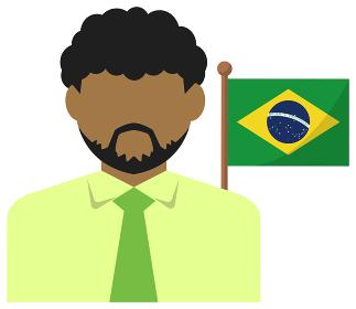 男性ビジネスマン+国旗 イラスト (上半身・顔なしシルエット)/ ブラジル