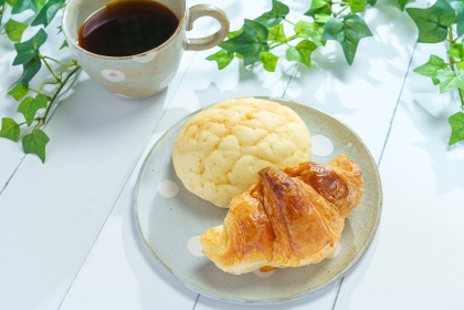 テラスで朝食