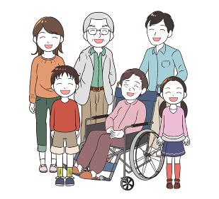 笑顔の高齢女性と家族みんな