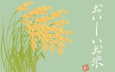 収穫を迎えた稲穂、お米のイラスト